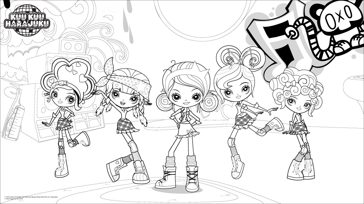 Kuu Kuu Harajuku Coloring Pages